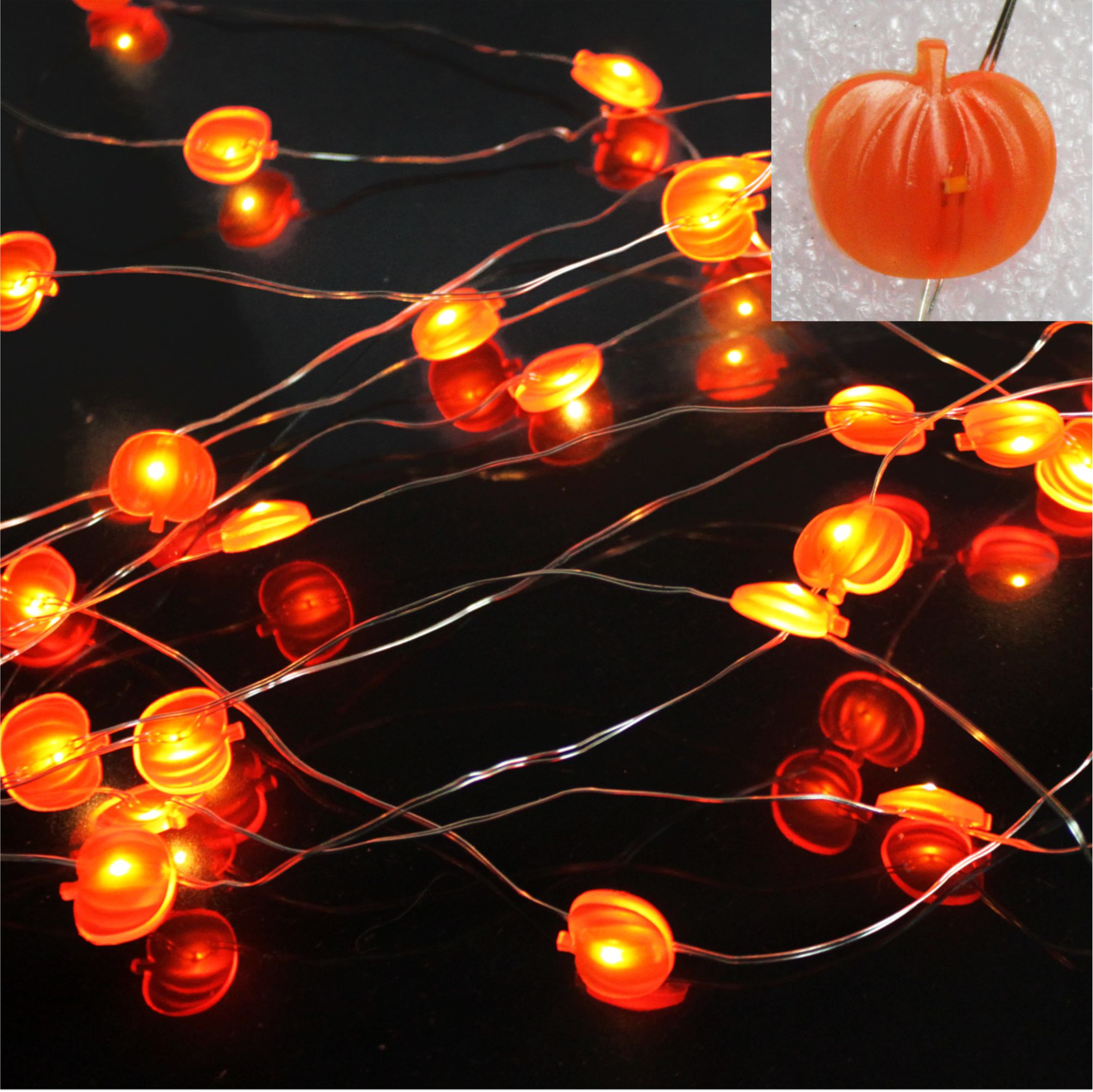 LED string light pumpkin ornament