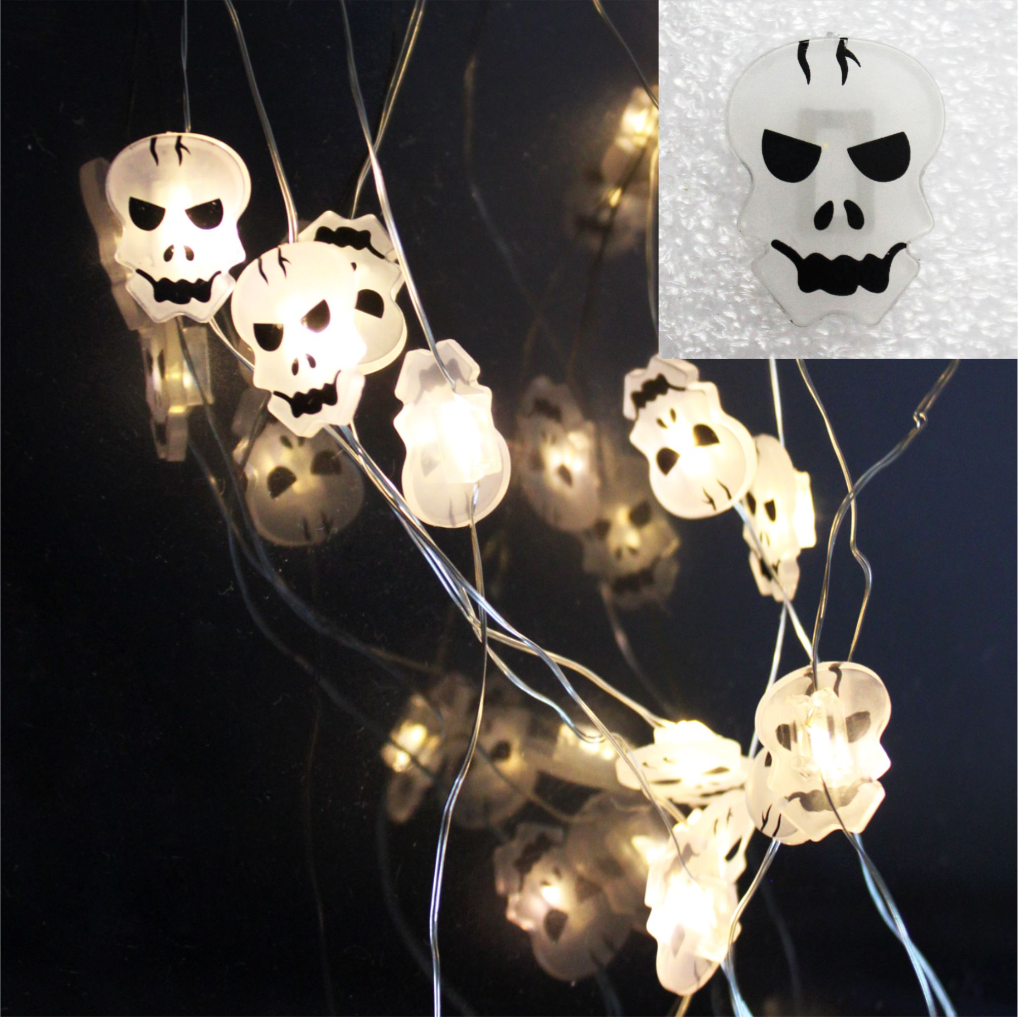 LED string light skull ornament
